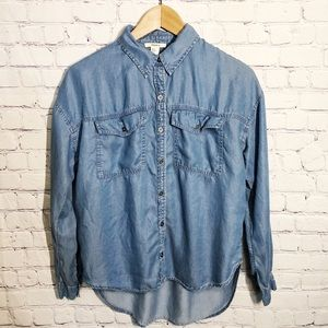 Forever 21 Denim Button Down Shirt Small